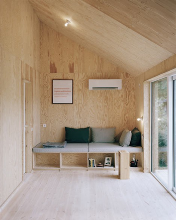 plywood with cubbies walls ceilings sofa