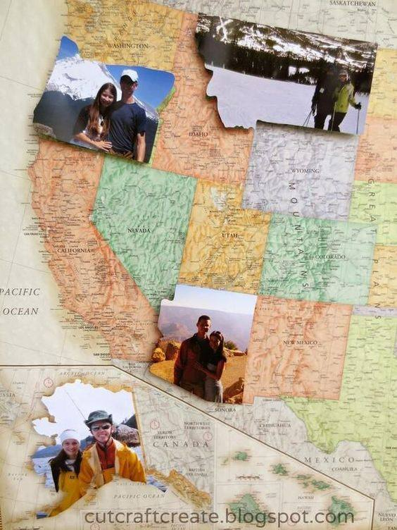 We want to do something like this on the exterior of the trailer but blown up huge sized, take a picture of us in each state, blow it up, print it on a vinyl sheet (UV Safe), cut it out and decorate the trailer with proof of our adventures!  WE may incorporate all 58 national parks as well, I want to hit the lower 48, james wants to hit all national parks, I think we can do both! :)
