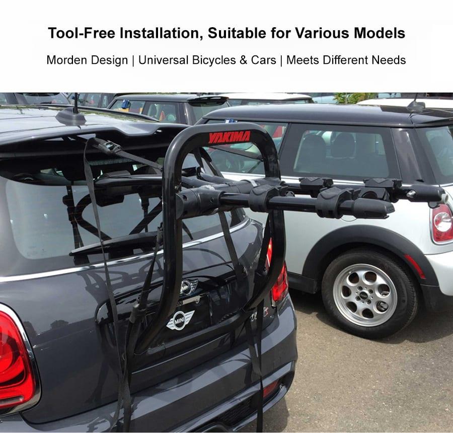 yakima trunk mounted car bicycle holder rack
