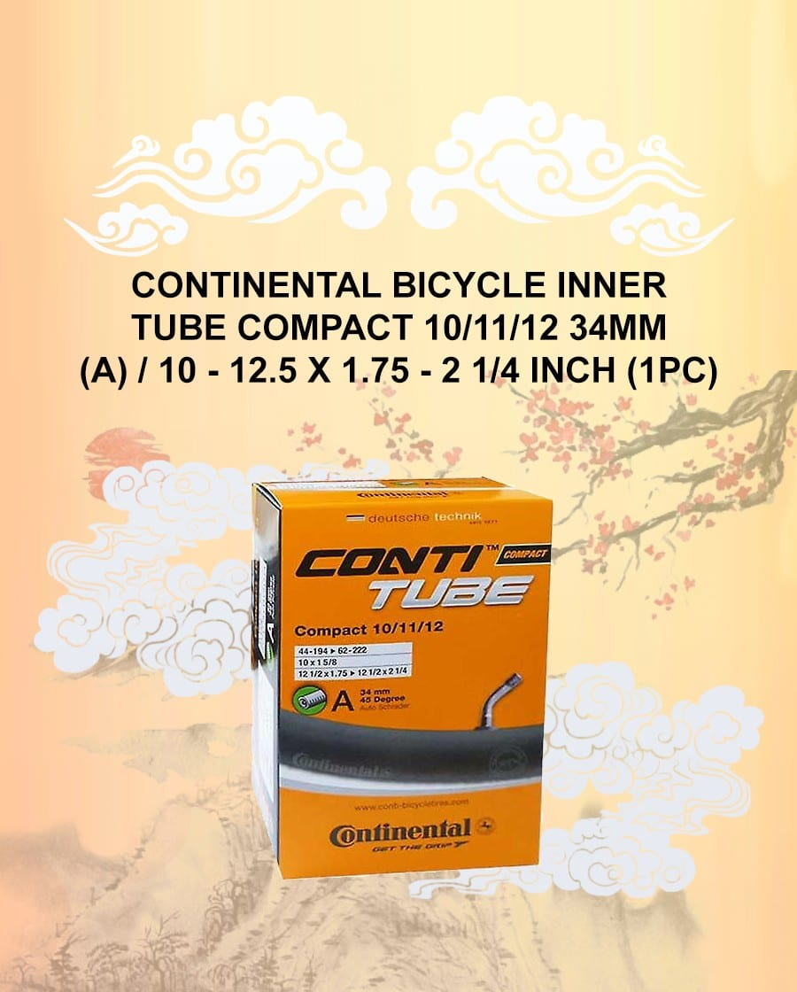 Continental Bicycle Inner Tube Compact 10/11/12 34mm (A) / 10 - 12.5 x 1.75 - 2 1/4 inch (1pc)
