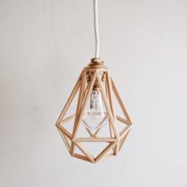 X3 Lampe / Suspension / Abat-jour / Pendentif Diamant en bois  - Design Vintage et Industriel
