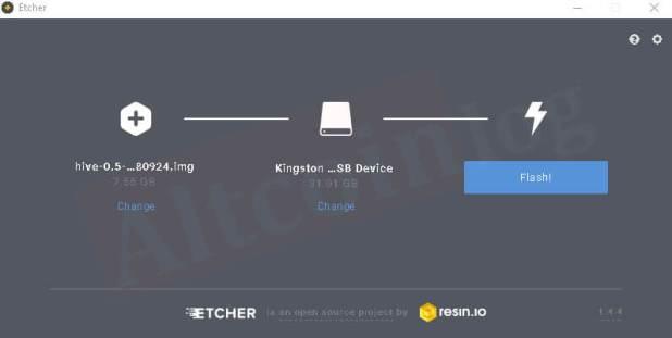 Создание образа Hive OS в ОС Windows с помощью программыEtcher