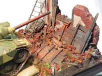 Brick red pigments helped blending the debris together.