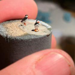 Model railroad puffins