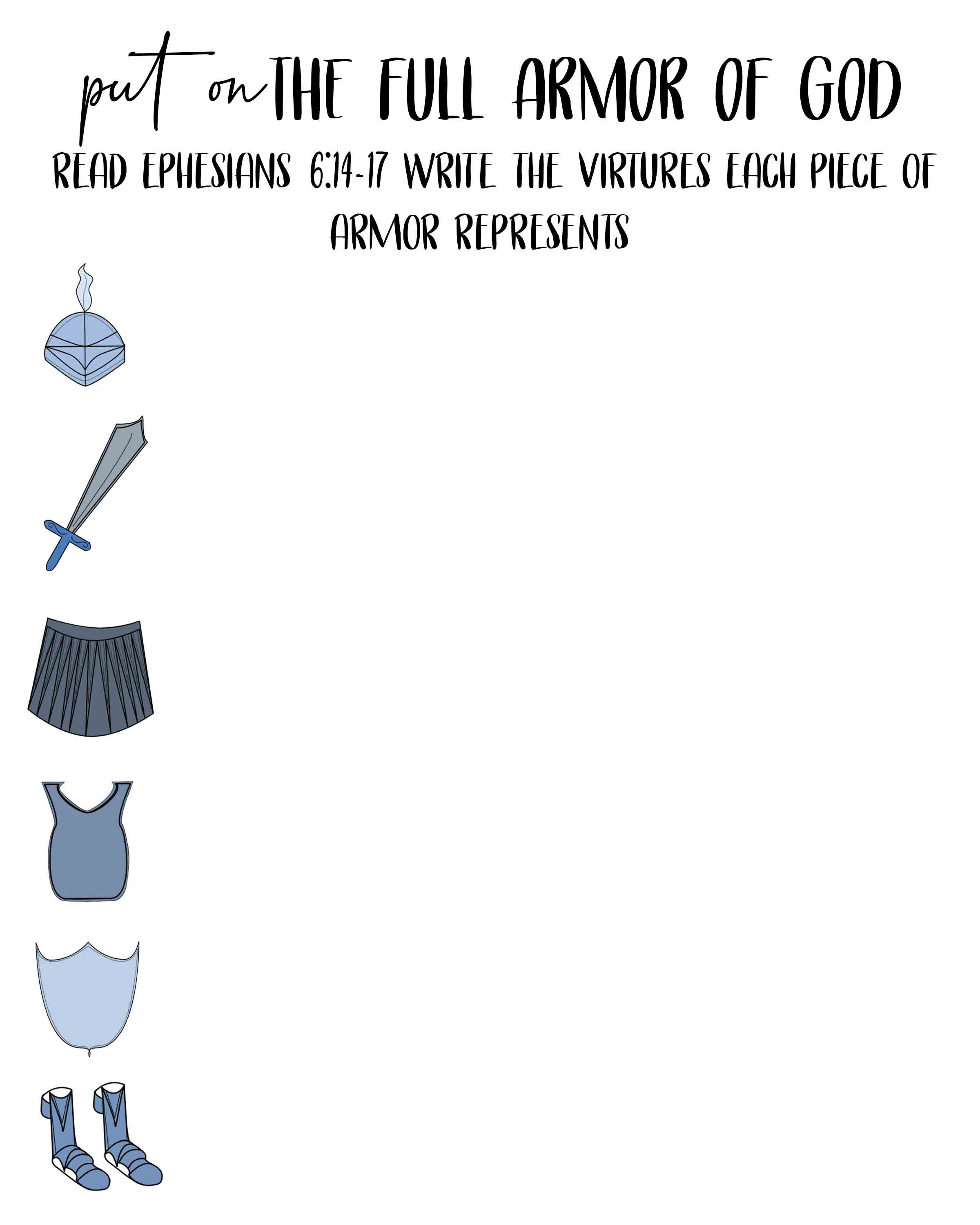 Clever Printable Armor Of God Worksheets