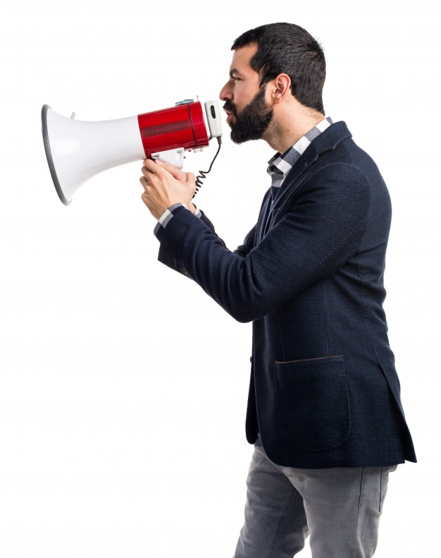 Hombre Gritando Megafono 1368 135