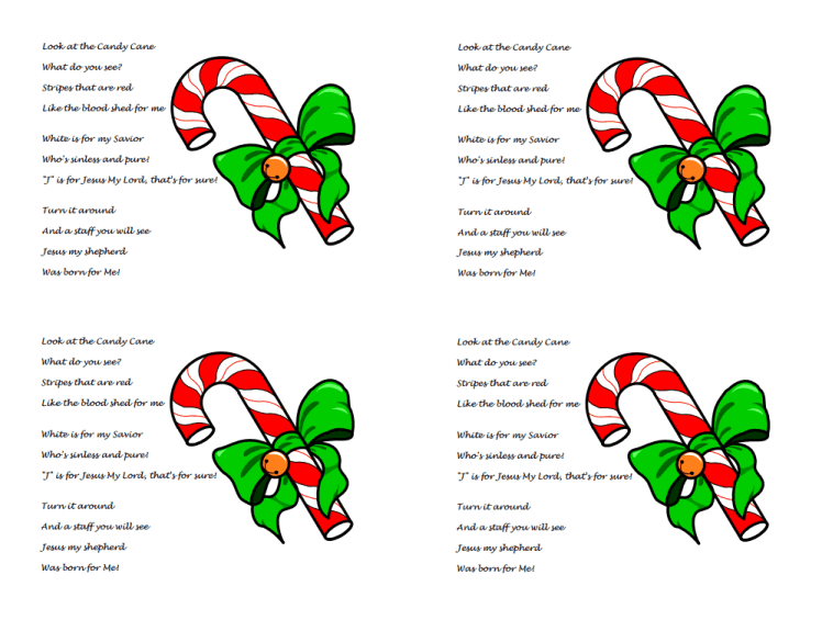 legend of the candy cane poem printable story about Jesus