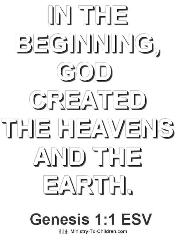 Bible Verse Coloring Page about Creation (Genesis 1:1)