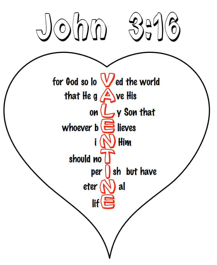 John 3:16 Heart Coloring Page for Valentine Day — Ministry