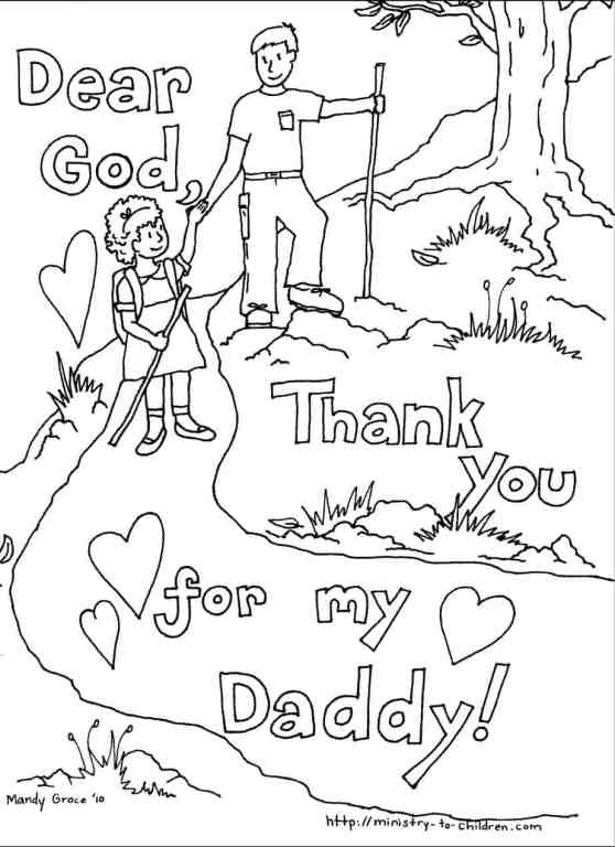 Father's Day Coloring Page with Daughter and Dad hiking