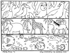 Creation Coloring Pages: God Made the Animals, Fish, Birds
