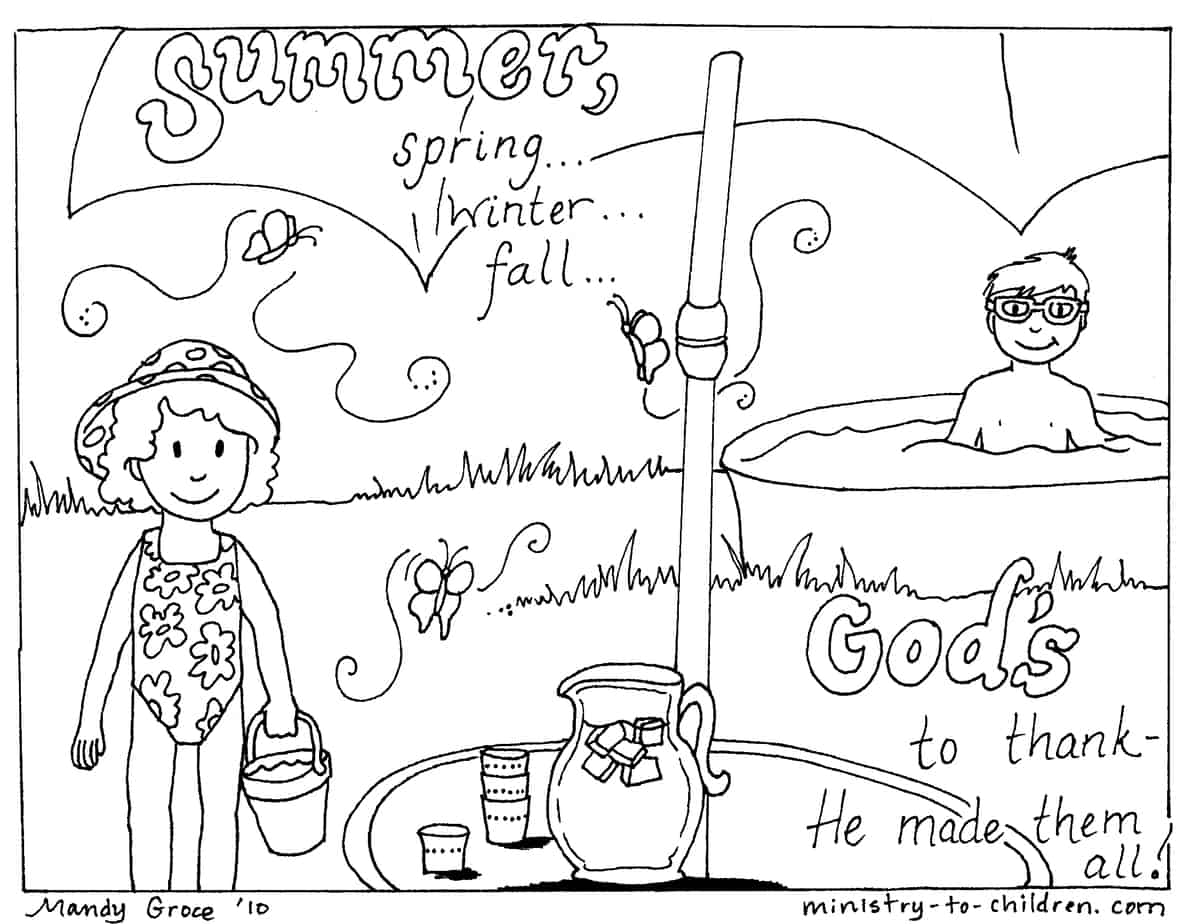 God Made the Summer Coloring Page