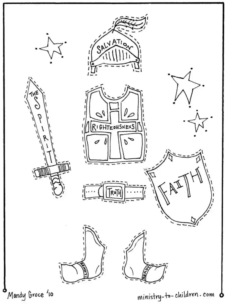 cutout coloring page of armor of God - helmet of salvation, shield of faith, sword of the spirit,
