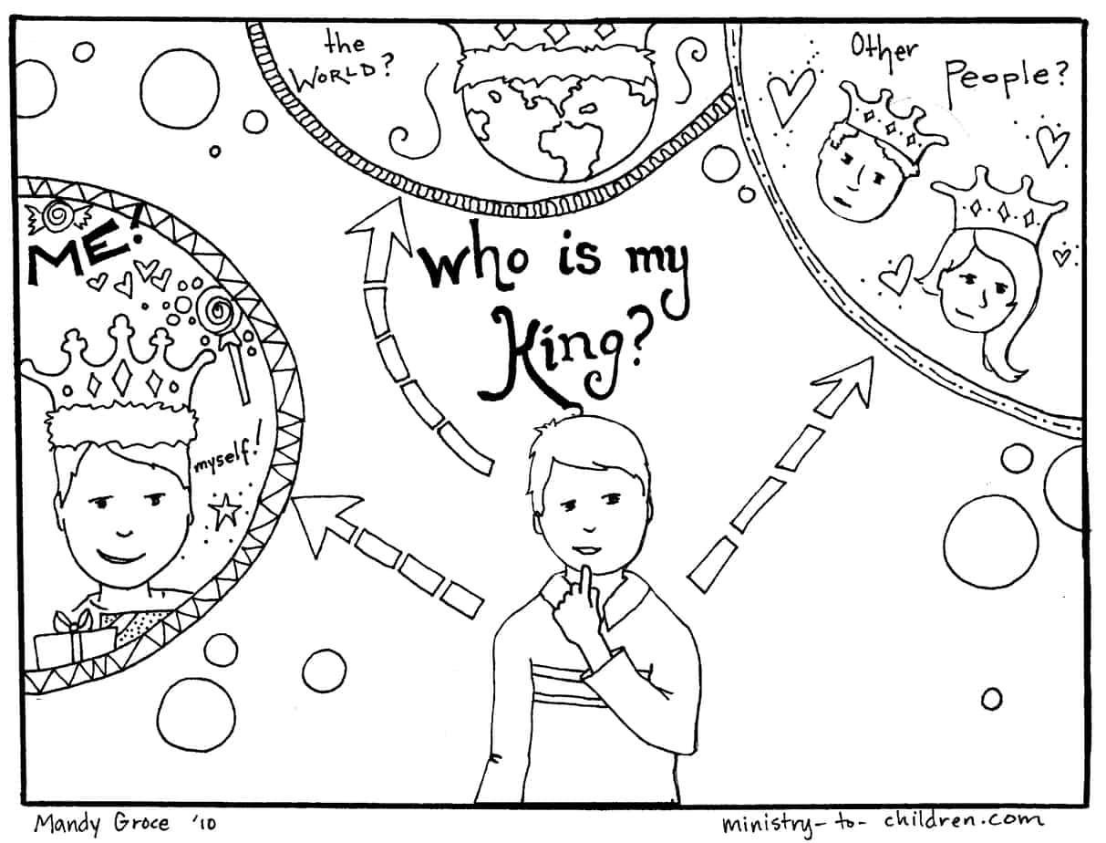 Gospel Coloring Pages: Who is my King?