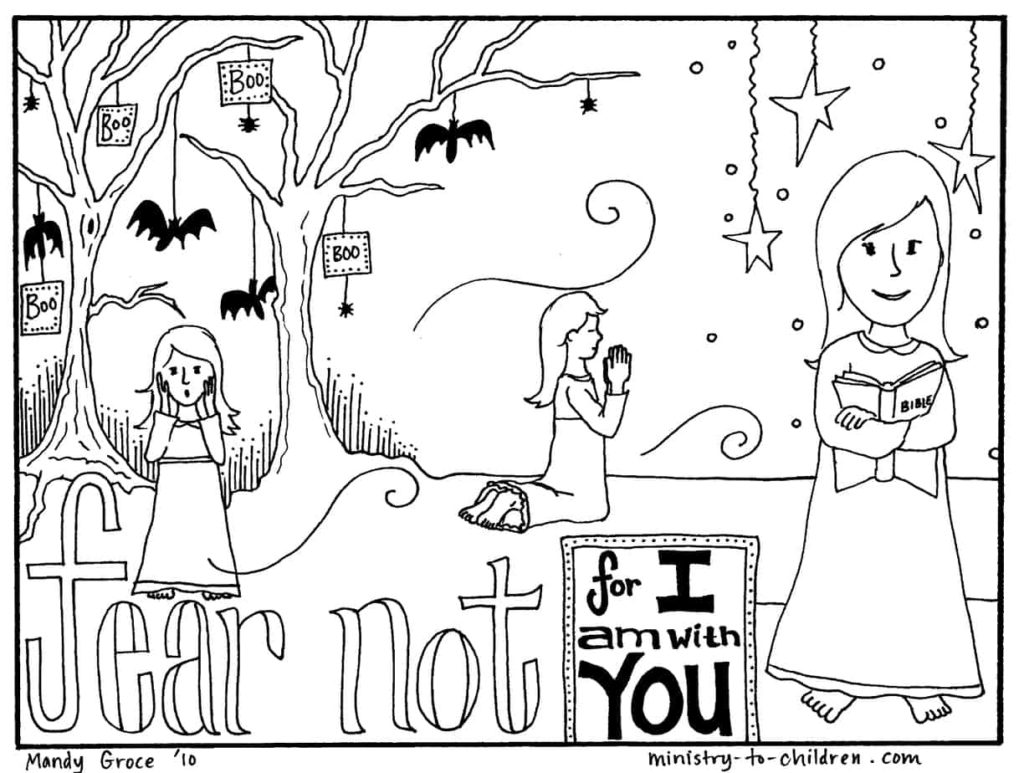 Halloween Coloring Pages (Religious Christian) Do Not Fear!