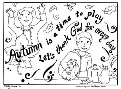 "Autumn Coloring Page ""Let's Thank God"""