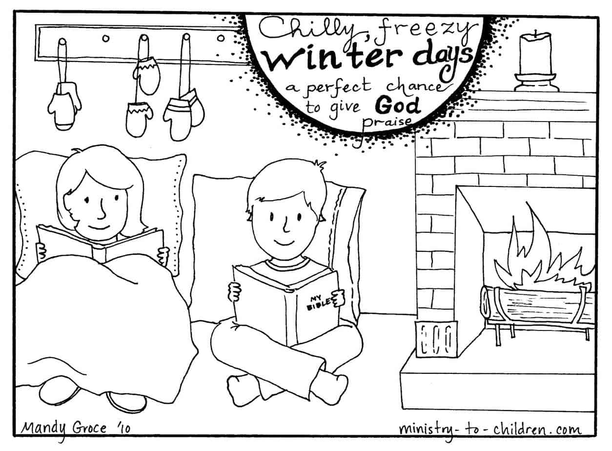 Winter Coloring Pages for Christian Kids or Sunday School