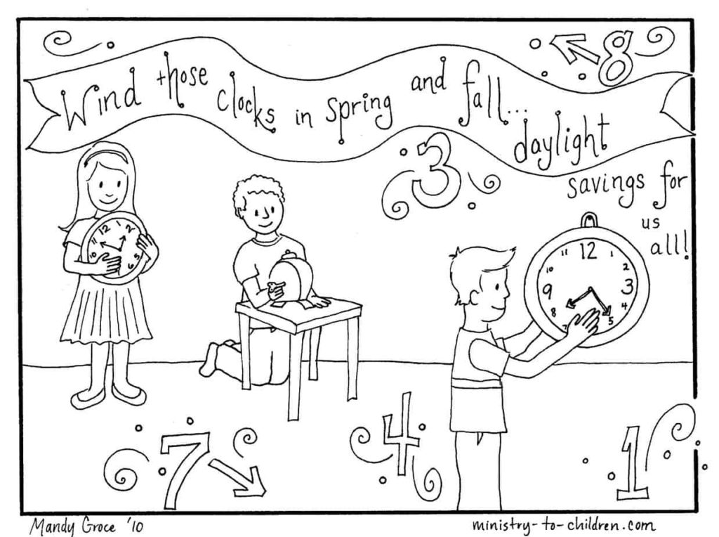 Coloring Pages: Daylight Savings Time Change (March 8