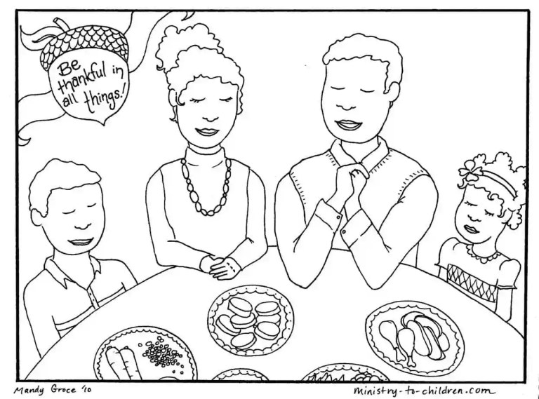 Family Thanksgiving Dinner Coloring page