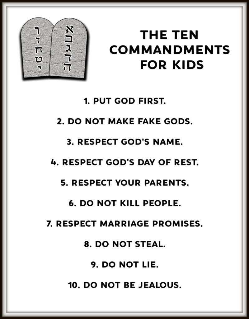 "printable ""ten commandments for kids"" — ministry-to-children"