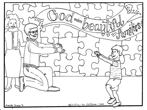 """God Makes Beautiful Families"" Adoption Coloring Page"