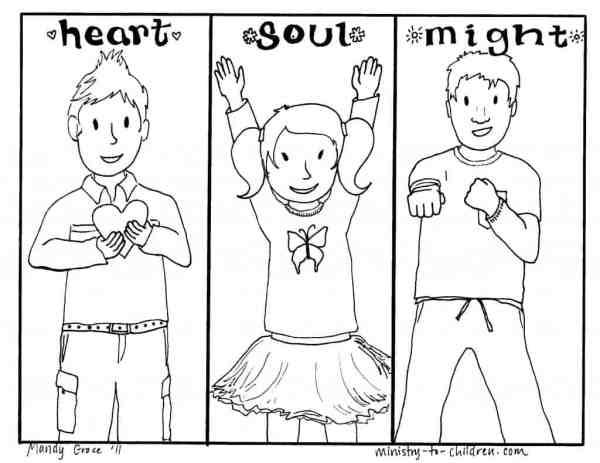 Página de colorir Deus amor para crianças