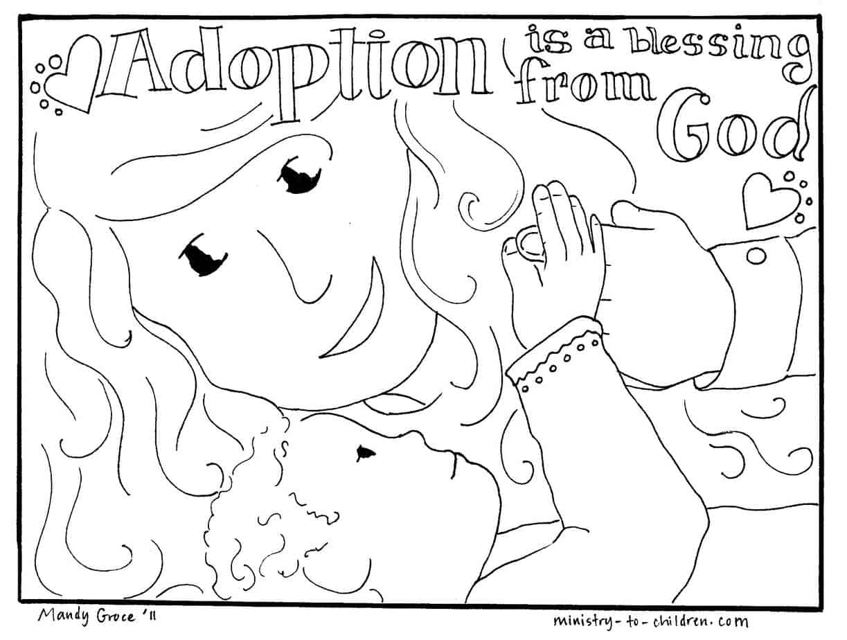 Adoption is a Blessing from God Coloring Page (printable)