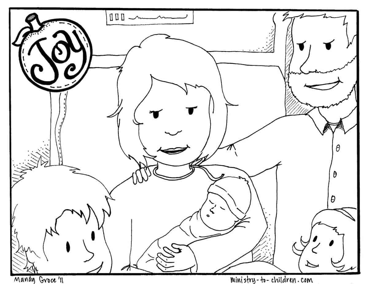 Joy Coloring Page (free printable for kids)