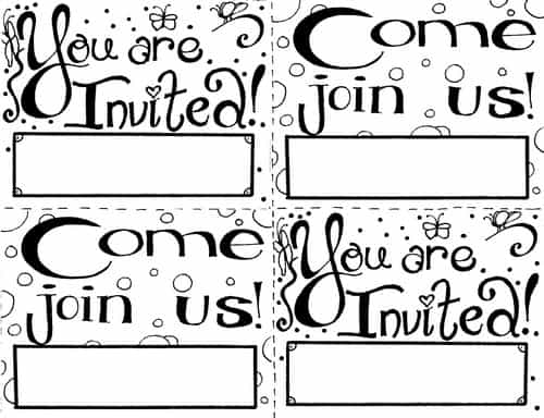 Invitation Coloring Page (Free Printable Cards for Kids)
