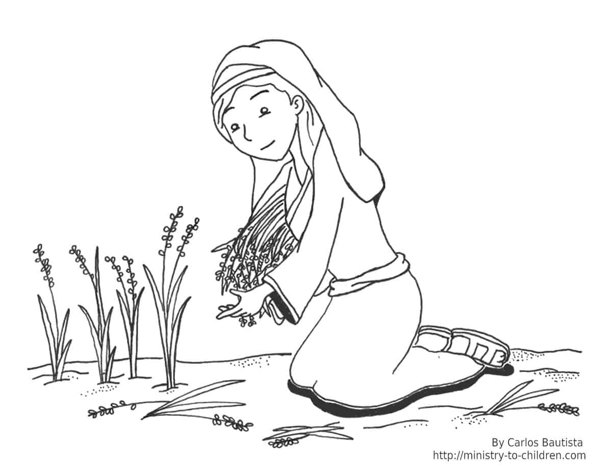 Ruth and Naomi Bible Coloring Page
