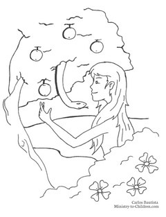 Eve and the Serpent Coloring Page