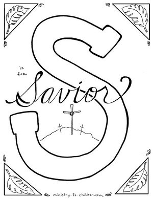 S if for Savior - Religious Easter Coloring Page