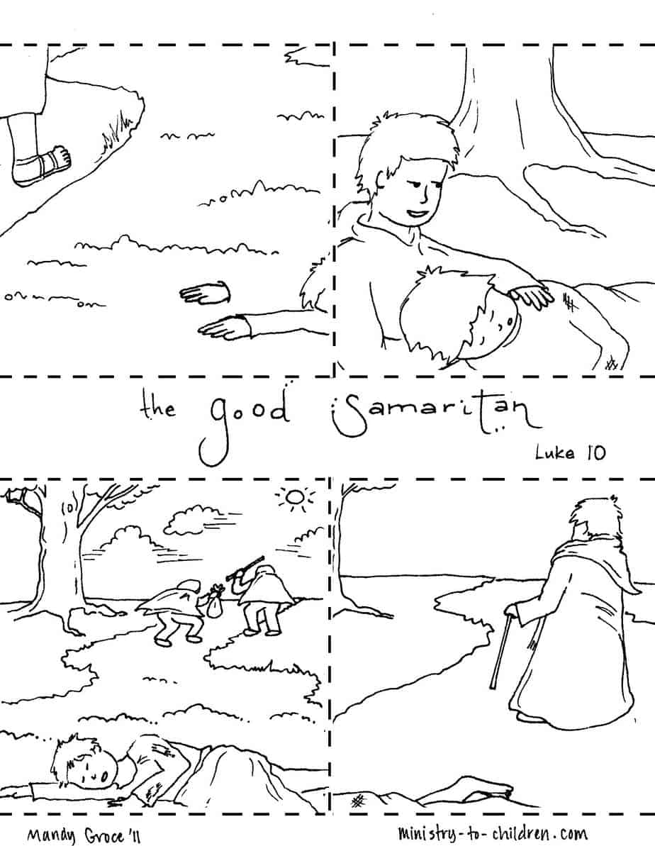 Parable of the Good Samaritan: Sequence Coloring Pages