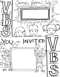Vacation Bible School Invitation Flyers (Coloring Page