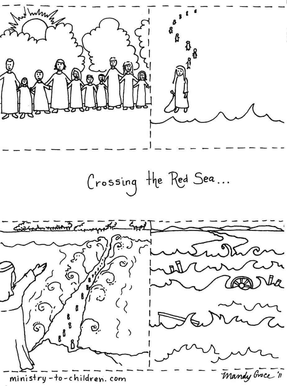 Moses Parted The Red Sea Coloring Pages