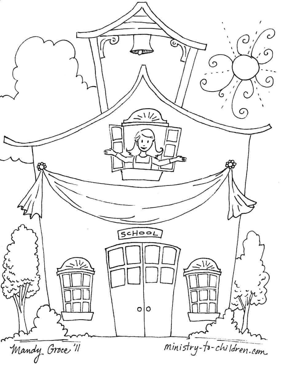 First Day of School Coloring Pages (Easy Prind PDF) 2019