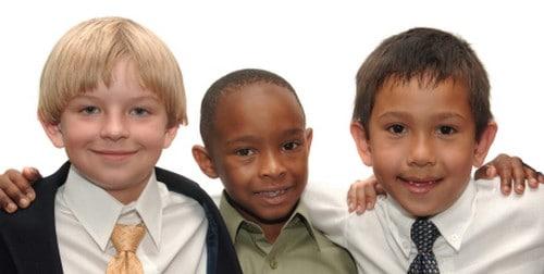 Three boys in church clothes