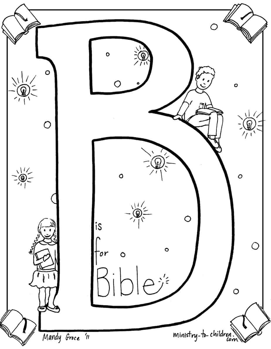 """B is for Bible"" Coloring Page 