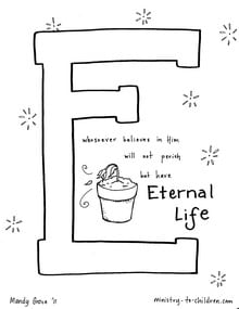 """""""E is for Eternal Life"""" Coloring Page"""