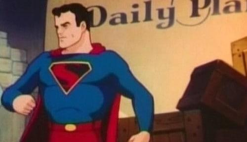 "Public domain image via Wikimedia. Still frame from the animated cartoon ""Superman: Billion Dollar Limited"" (1942)."