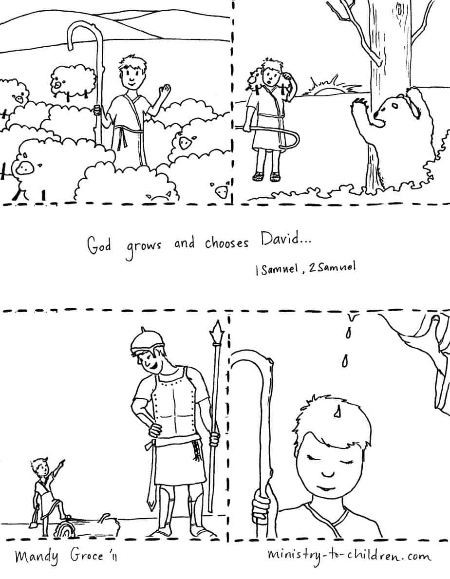 Coloring Pages: David Fights Goliath & Becomes King