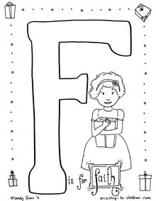 """Coloring page """"F is for Faith"""""""
