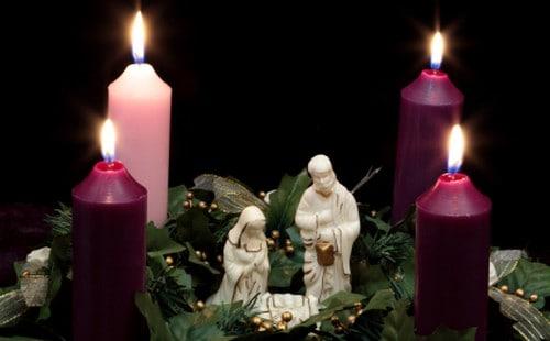 Christmas Advent Wreath with Nativity