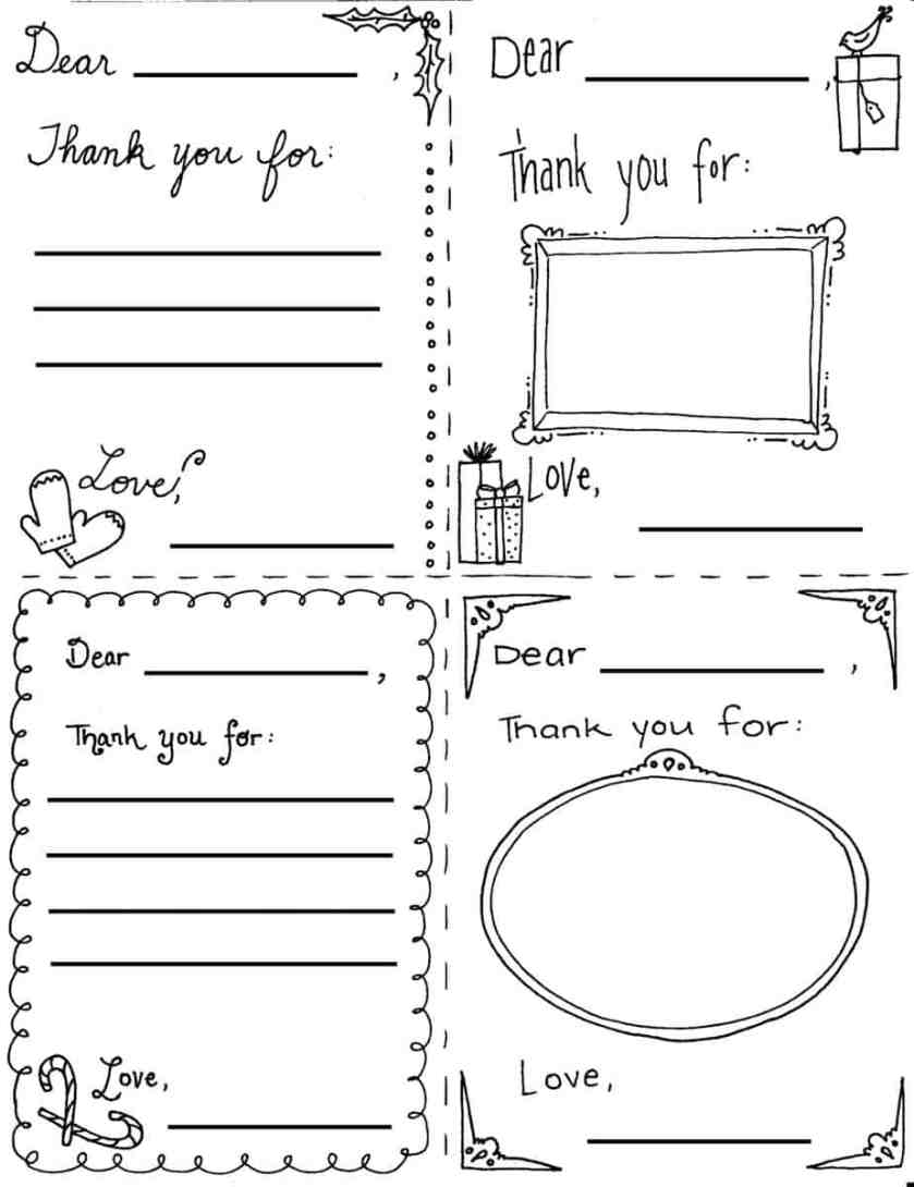 """christmas """"thank you"""" cards coloring sheets"""