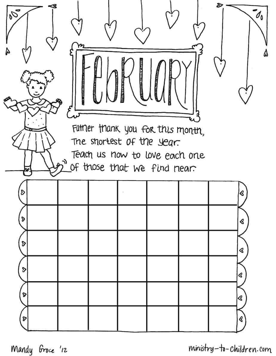 February Coloring Page Calendar