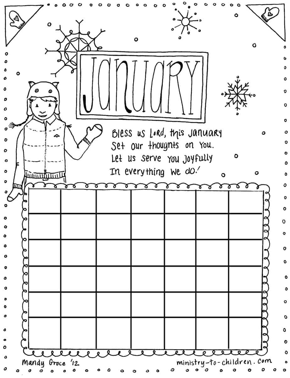 January Coloring Page Calendar