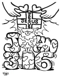 Valentine's Day Coloring Pages with John 3:16