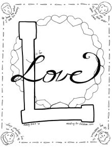 L is for Love Coloring Page MinistryToChildren