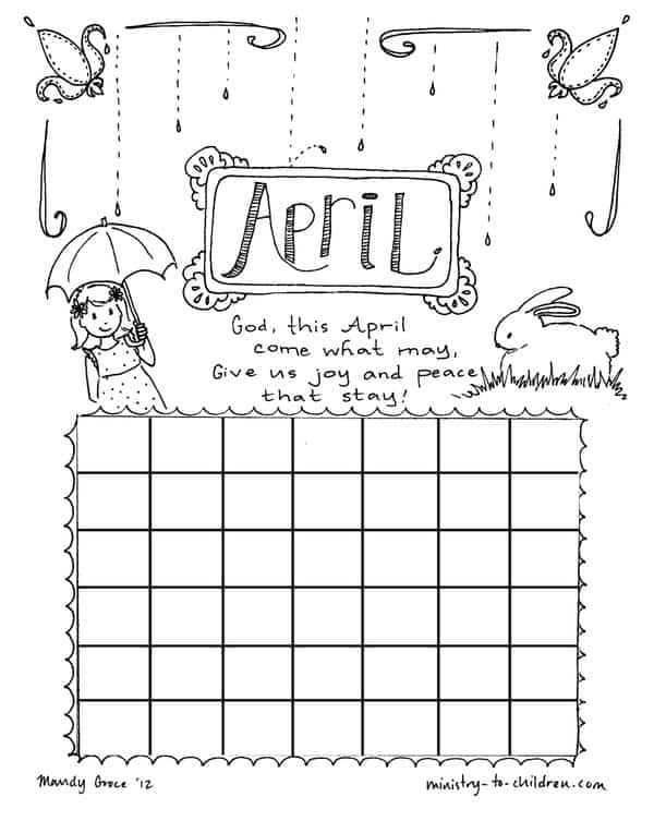 Printable Calendar Coloring Page for April