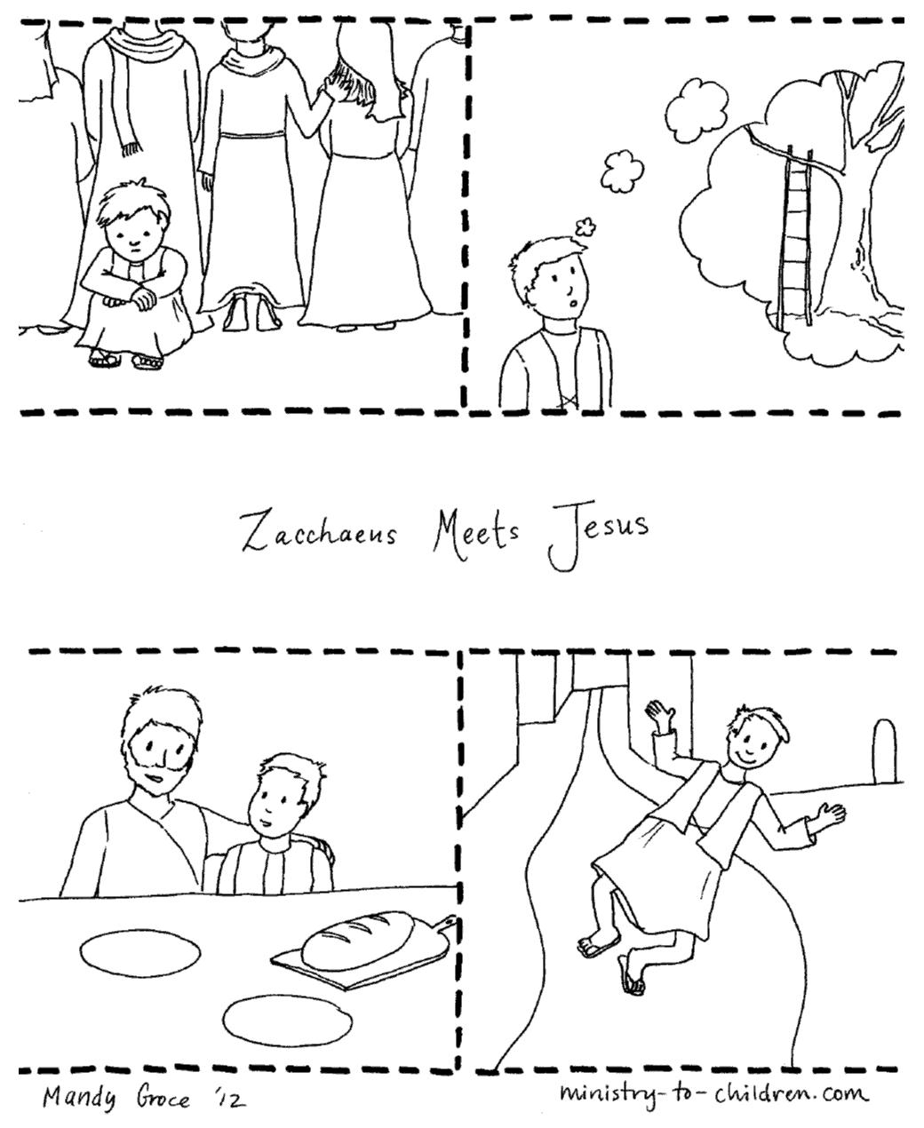 Zacchaeus & Jesus Coloring Page (Free Printable)
